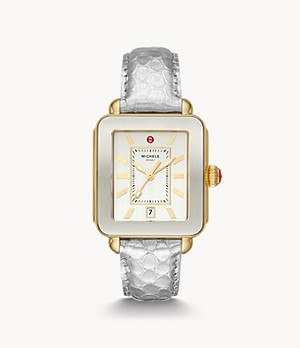Deco Sport Gold-Tone Silver-Tone Embossed-Leather Watch