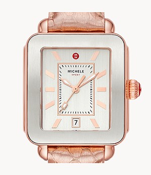 Deco Sport Pink Gold-Tone Rose Embossed-Leather Watch