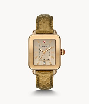 Deco Sport Beige Embossed-Leather Watch
