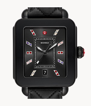 Deco Sport Black Leather Watch