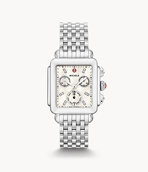 Deco Stainless Diamond Dial Watch