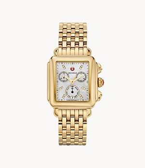 Deco Diamond Dial 18K Gold Watch