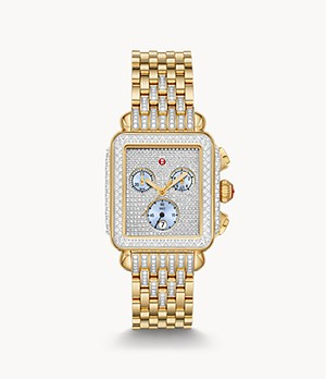 Limited-Edition Deco 18K Gold Pavé Diamond Watch