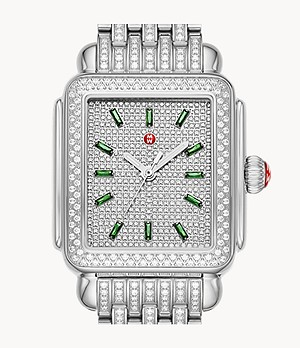 Limited-Edition Deco Stainless Emerald and Pavé Diamond Watch
