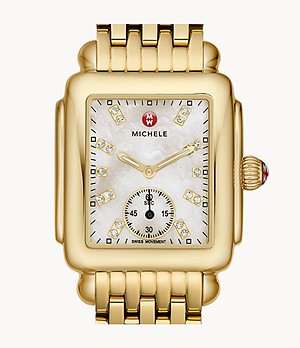 Deco Mid 18K Gold Diamond Dial Watch
