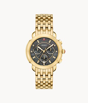 Sidney 18K Gold Diamond Dial Watch