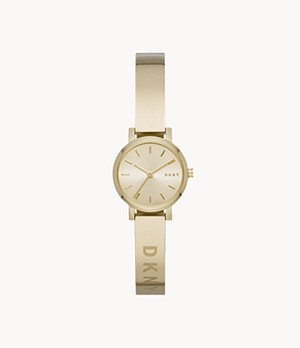 DKNY Soho Three-Hand Gold-Tone Stainless Steel Bangle Watch
