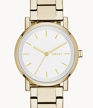 DKNY Stanhope Three-Hand Gold-Tone Stainless Steel Watch
