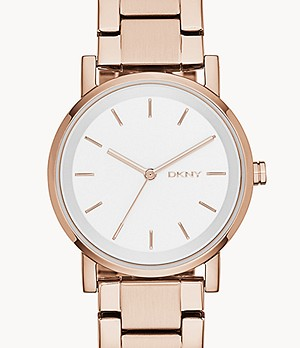 DKNY Stanhope Three-Hand Rose Gold-Tone Stainless Steel Watch