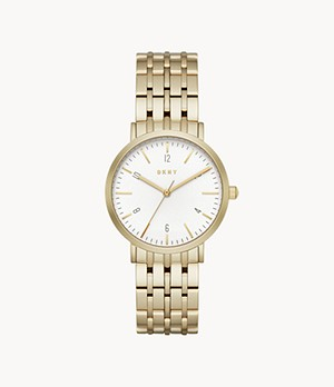 DKNY Women's Minetta Three-Hand Gold-Tone Stainless Steel Watch