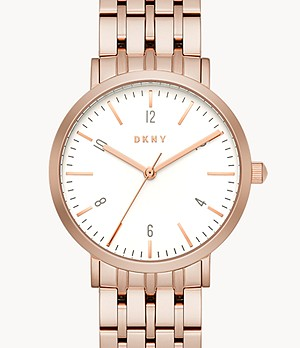 DKNY Women's Minetta Three-Hand Rose Gold-Tone Stainless Steel Watch