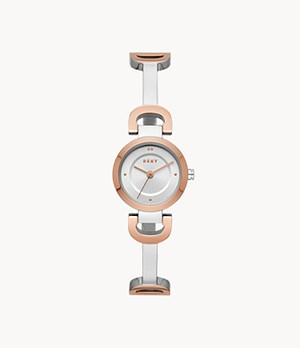 DKNY Women's City Link Three-Hand Two-Tone Steel Watch