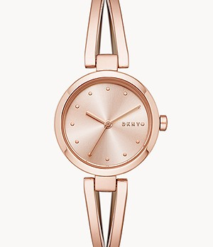 DKNY Women's Crosswalk Three-Hand Rose Gold-Tone Stainless Steel Watch