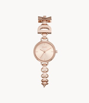 DKNY Soho Three-Hand Rose Gold-Tone Stainless Steel Watch