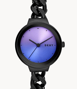 DKNY Astoria Three-Hand Black Stainless Steel Watch