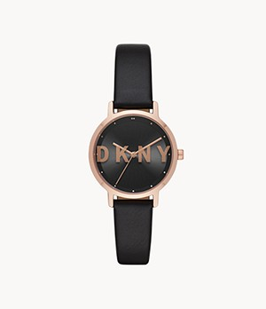 DKNY The Modernist Three-Hand Black Polyurethane Watch