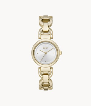 DKNY Eastside Three-Hand Gold-Tone Stainless Steel Watch