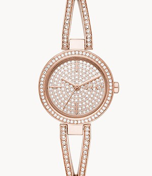 DKNY Crosswalk Three-Hand Rose Gold-Tone Stainless Steel Watch