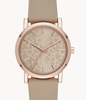 DKNY Soho Three-Hand Nude Faux Leather Watch
