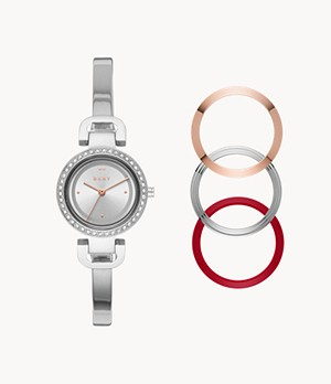 DKNY City Link Three-Hand Steel Bangle Watch
