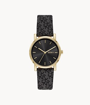DKNY Soho Three-Hand Black Leather Watch