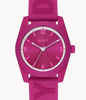 DKNY Nolita Three-Hand Pink Silicone Watch