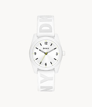 DKNY Nolita Three-Hand White Silicone Watch