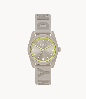 DKNY Nolita Three-Hand Grey Silicone Watch