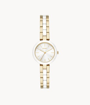 DKNY City Link Three-Hand Gold-Tone Stainless Steel Watch