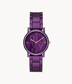 DKNY Soho Three-Hand Purple Aluminum Watch