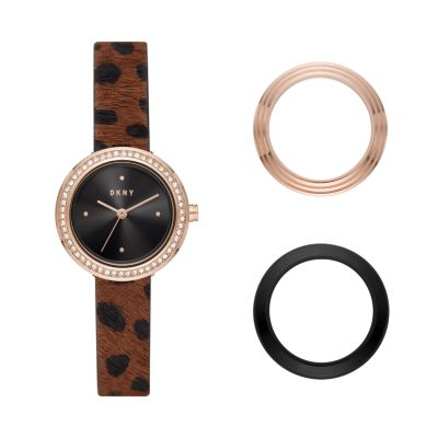DKNY Sasha Three-Hand Cheetah-Print Leather Watch - NY2944 - Watch Station