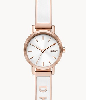DKNY Soho Three-Hand White and Rose Gold-Tone Stainless Steel Watch