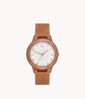 PUMA Women's Reset Three-Hand Rose Gold Silicone Watch