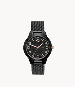PUMA Women's Reset Three-Hand Date Black Steel Watch