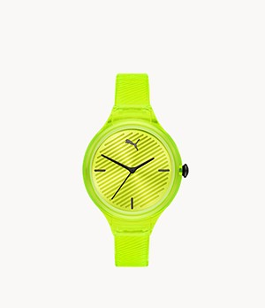 PUMA Contour Three-Hand Yellow Polyurethane Watch