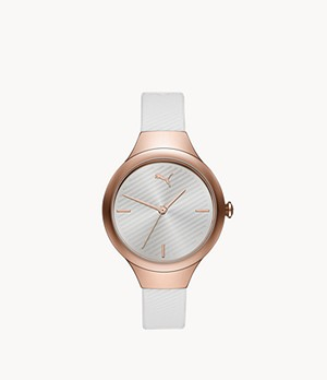 PUMA Contour Three-Hand White Polyurethane Watch