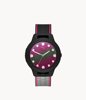 PUMA Reset V1 Three-Hand Black Ombre Silicone Watch
