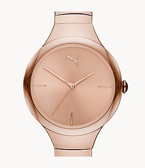 PUMA Contour Three-Hand Rose Gold-Tone Stainless Steel Watch