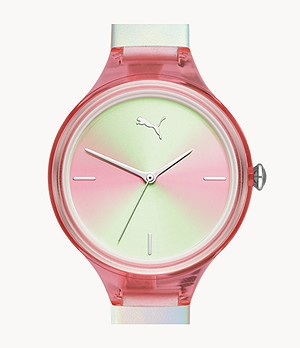 PUMA Contour Three-Hand Holographic Leather Watch