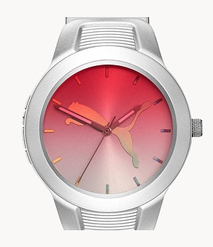 PUMA Reset V2 Three-Hand Silver Polyurethane Watch