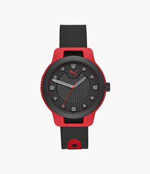 PUMA Men's Reset Three-Hand Black Silicone Watch