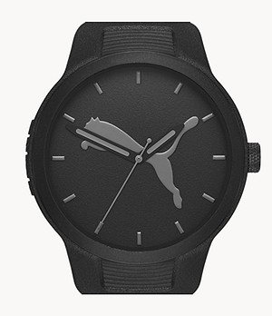 PUMA Men's Reset Three-Hand Black Polyurethane Watch