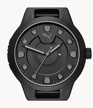 PUMA Men's Reset Three-Hand Date Black Steel Watch