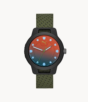 PUMA Men's Reset Three-Hand Green Silicone Watch