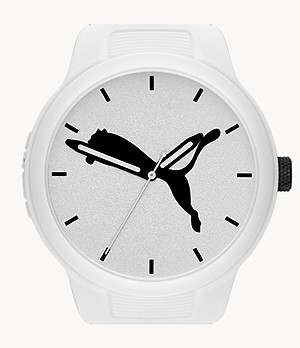 PUMA Men's Reset Three-Hand White Polyurethane Watch