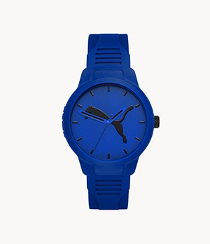 PUMA Men's Reset Three-Hand Blue Polyurethane Watch