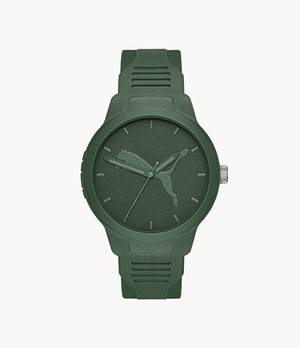 PUMA Men's Reset Three-Hand Green Polyurethane Watch