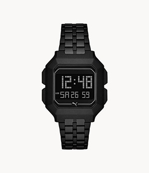 PUMA Remix LCD Black Stainless Steel Watch