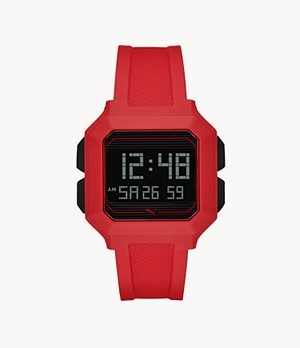 PUMA Remix LCD Red Polyurethane Watch