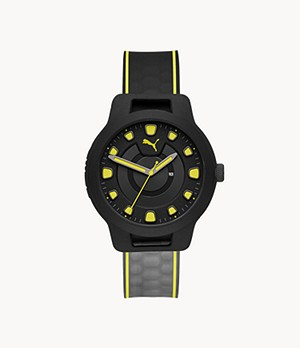 PUMA Reset V1 Three-Hand Date Black Silicone Watch